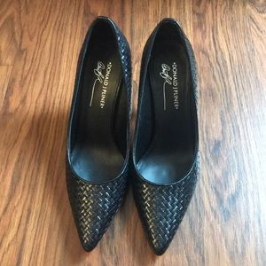 Black woven leather Donald J Pliner heels